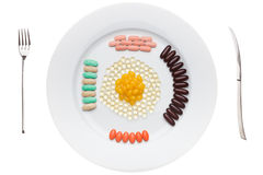 Plate with food supplements pills