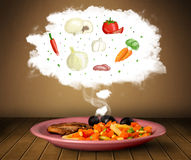 Plate of food with vegetable ingredients illustration in cloud Royalty Free Stock Images