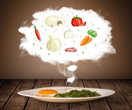 Plate of food with vegetable ingredients illustration in cloud Stock Images