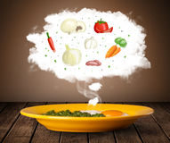 Plate of food with vegetable ingredients illustration in cloud Stock Photography