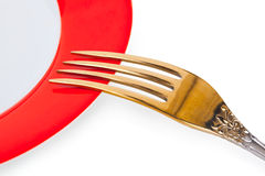 Plate and fork Stock Images