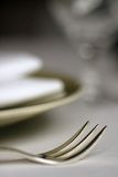Plate and fork,. The Spire Hotel, Queenstown, central otago, south island, New Zealand Stock Photography