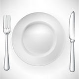 Plate with fork and knife Stock Photo