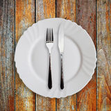 Plate fork and knife Stock Image