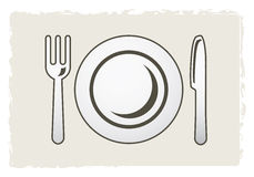 Plate, fork and knife Stock Image