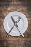 Plate, fork, knife Royalty Free Stock Image