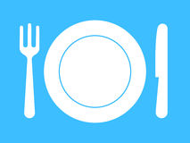 Plate, fork, knife - dinnerware. On blue Stock Image