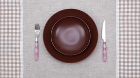 Plate with fork and knife Royalty Free Stock Photography