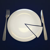 Plate, fork and knife. Empty plate with segment, fork and knife on navy blue background Stock Photography