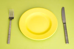 Plate, fork and  knife Stock Photos