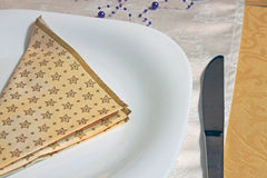 Plate with fork,knife and napkin Royalty Free Stock Photos