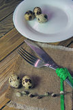 Plate, fork and knife and quail egg Stock Image