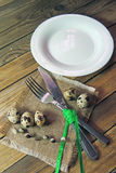 Plate, fork and knife and quail egg Royalty Free Stock Photo