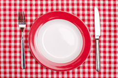 Plate with fork and knife Stock Photos