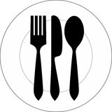 Plate, fork, knife and spoon. Vector icon illustration of plate with fork, knife and spoon on top of it Royalty Free Stock Photo