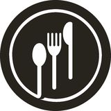 Plate fork, knife, spoon. Vector icon illustration of plate with fork, knife and spoon on top of it Royalty Free Stock Photography