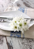 Plate, fork, knife and spring branch on wooden Royalty Free Stock Photos