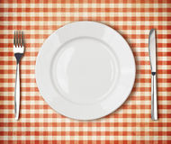 Free Plate, Fork, Knife Top View Over Old Tablecloth Royalty Free Stock Photos - 39002668