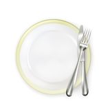Plate with fork and knife Royalty Free Stock Images