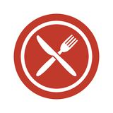 Plate, fork and knife on white background. Vector illustration Royalty Free Stock Images