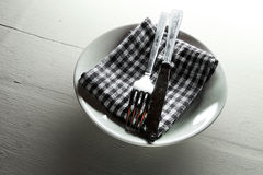 Plate, fork and knife Stock Photo