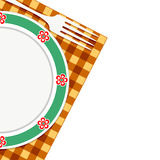 Plate and fork on a napkin Stock Photo