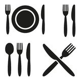 Plate, fork, spoon and knife icons. Plate, fork, spoon and knife icons on white background. Vector illustration Royalty Free Stock Images