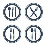 Plate fork spoon and knife icons on white background. Vector illustration stock illustration