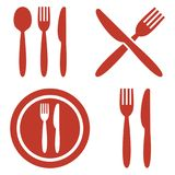 Plate, fork, spoon and knife icons. Plate, fork, spoon and knife icons on white background. Vector illustration Stock Image