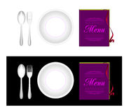 Plate, fork, spoon, menu Royalty Free Stock Photography