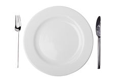 Plate, Fork and Table Knife Stock Images