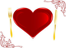 Plate in the form of heart Royalty Free Stock Photography