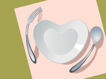 Plate in the form of heart. Menu cover Stock Images