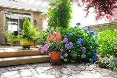 Plate-forme avec de belles fleurs dans des pots Photos stock