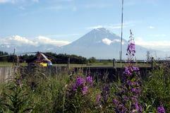 Plate-forme d'hélicoptère sur le Kamtchatka Photographie stock