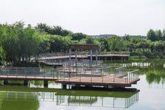 Plate-forme de bois de construction sur l'eau Images libres de droits