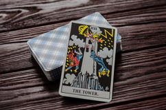 Plate-forme de cavalier-Waite de tarot de cartes Photos stock