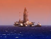 Plate-forme de forage de gaz de pétrole marin et ou installation, le Golfe du Mexique Photos stock