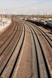 Plate-forme de gare ferroviaire Images libres de droits