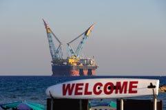 Plate-forme de gaz et pétrolière Images libres de droits