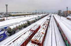 Plate-forme de train de cargaison à l'hiver, chemin de fer photos libres de droits