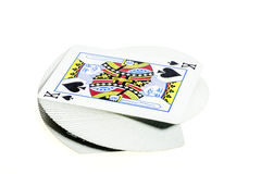 Plate-forme des cartes avec un roi sur le dessus Image libre de droits