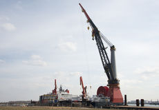 Plate-forme géante de grue en Hollande Images libres de droits
