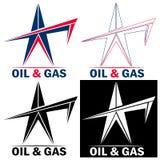 Plate-forme pétrolière d'emblème pour l'industrie de production de pétrole et de gaz illustration de vecteur