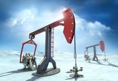 Plate-forme pétrolière : Plots de pompe dans le nord Image libre de droits