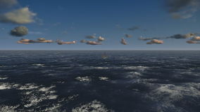 Plate-forme pétrolière, vol à travers l'océan, longueur courante illustration stock