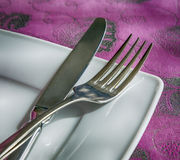 Plate, fragment, fork, knife, photo in old style image Royalty Free Stock Photo