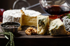 Plate of french cheeses Stock Photos