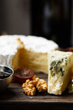 Plate of french cheeses close-up Stock Image