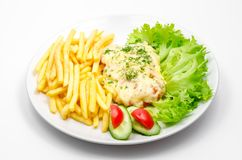 Plate with french fries royalty free stock image